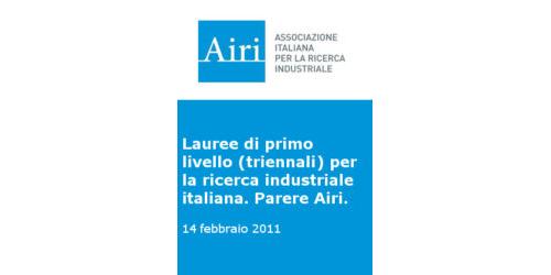 Parere Airi sulle lauree di primo livello (triennali) per la ricerca industriale italiana