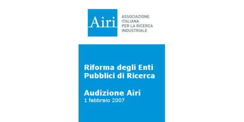 Audizione Airi sulla riforma degli Enti Pubblici di Ricerca